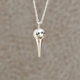 Golf Ball with Tee Pendant: Sterling Silver
